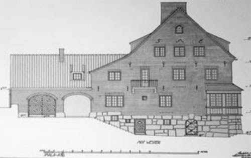 Facade drawing towards the west - source: Arkitekturmuseet