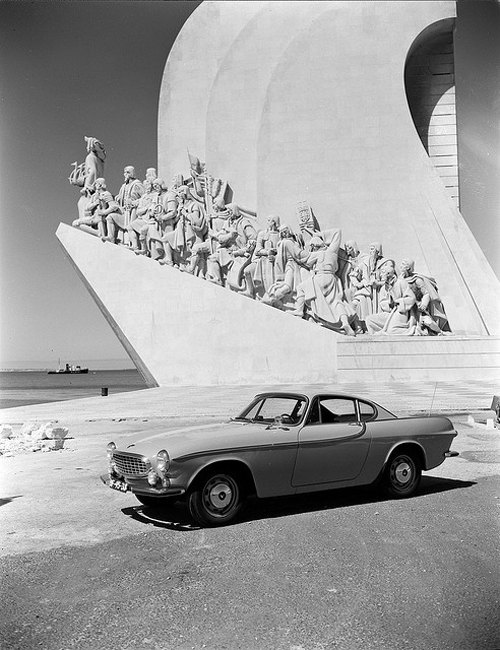 1966 - Volvo P1800S at Monument to the Discoveries or Padrão dos Descobrimentos at  Tagus River in Santa Maria de Belém, Lisbon, Portugal.
