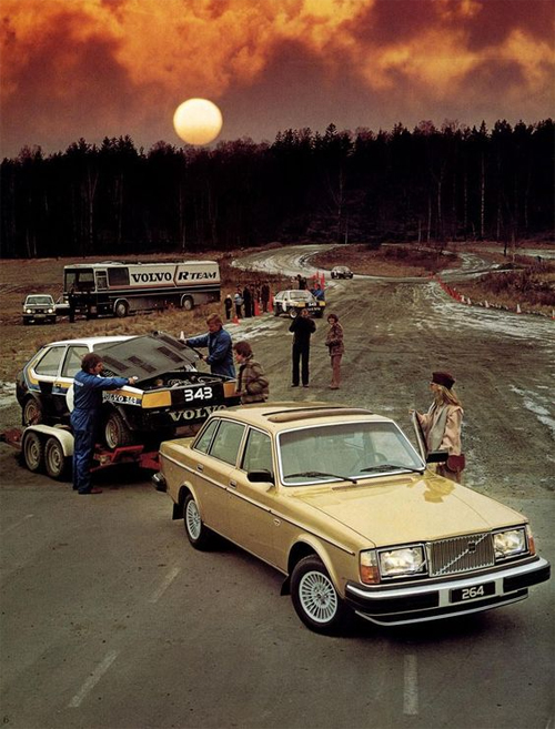 1979 - Volvo 264 GLE with Volvo 343 Rally at a race or rally track somewhere in Sweden, where?