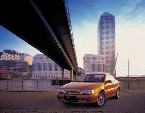 2002 - Volvo C70 at Bank Street at Canary Wharf in London, UK.