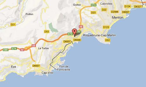 Avenue Agerbol Roquebrune-Cap-Martin Provence-Alpes-Côte d'Azur France Map