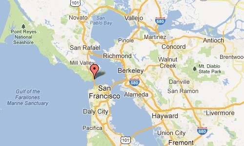 Golden Gate Bridge Moore Road, Sausalito Map