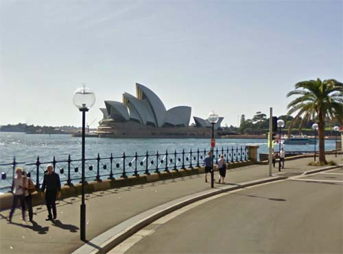 2013 - Sydney Opera House seen from Hickson Road in Sydney Australia (Google Streetview)