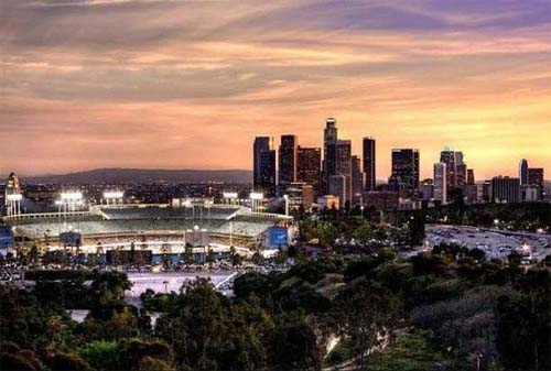 2013 - View on Dodger Park and Los Angeles from Elysian Park in Los Angeles, USA