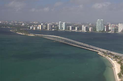 Miami Rickenbacker Causeway aerial view