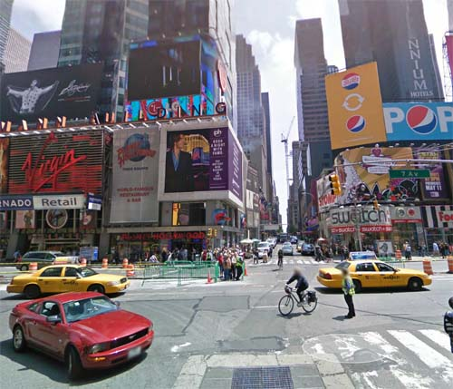 2013 - Corner of 7th Avenue, W45St, Broadway and Times Square in New York, USA (Google Streetview)