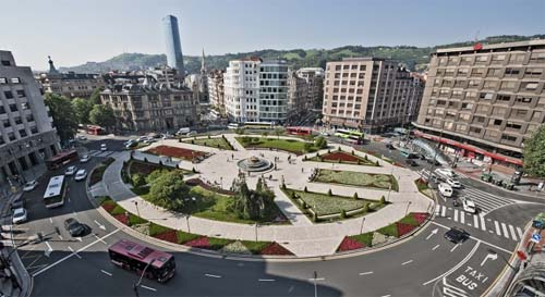 Plaza Moyua in Bilbao from the air