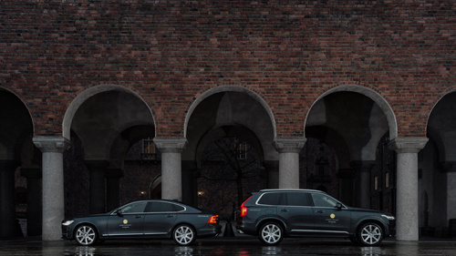 2016 - Volvo S90 and XC90 at the Stadshuset in Stockholm during Nobel Week.