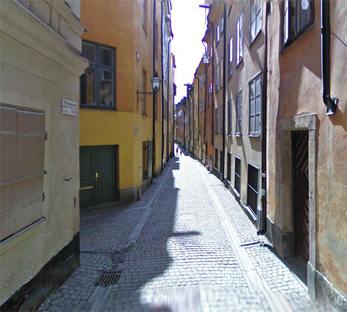 2013 - Prästgatan (near # 15) in Gamla Stan in Stockholm (Google Streetview)