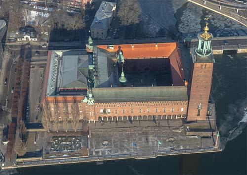 Stockholm stadshus aerial view 2