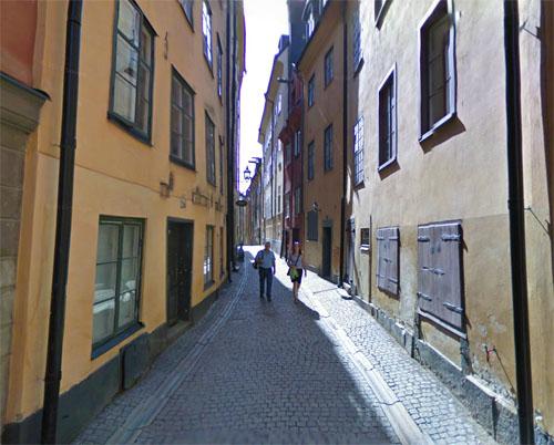 2013 - Prästgatan (near # 18B) in Gamla Stan in Stockholm (Google Streetview)