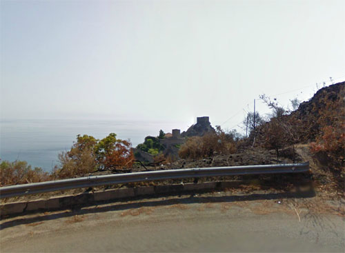 2013 - View on the Capo Sant' Alessio from Strada Provinciela 16 near Forza d'Agrò on the Taormina coast (Google Streetview)