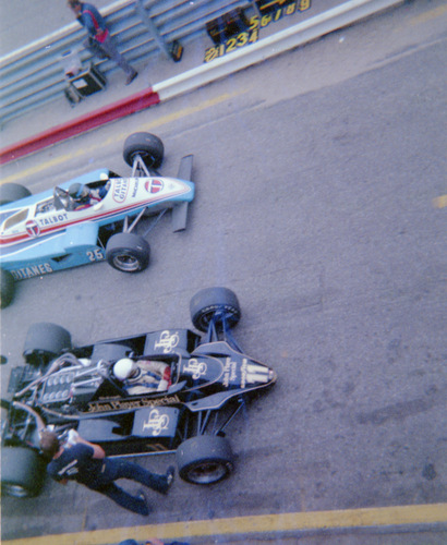 Elio De Angelis and Jacques Laffite testing at Zandvoort