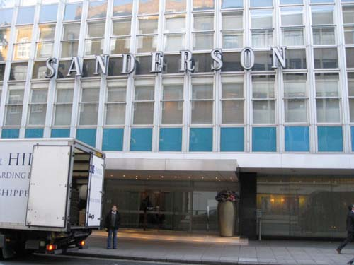 The Sanderson Hotel, located at the former site of No. 54 Berners Street. (Note truck making deliveries)