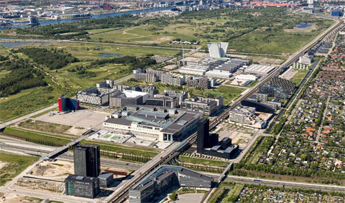 Ørestad Blvd Copenhagen from the air