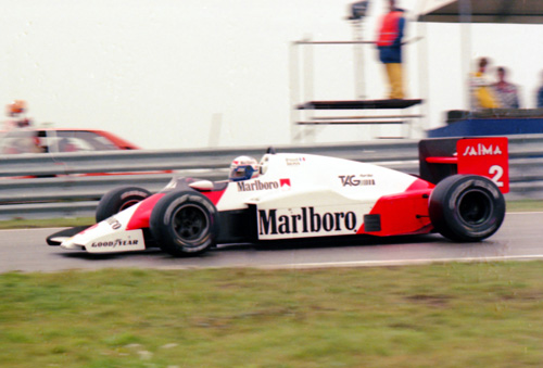 Alain Prost with McLaren-TAG MP4-2b