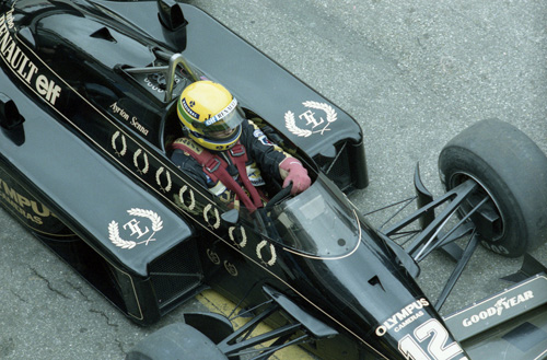 Ayrton Senna with Lotus-Renault (seen here during tyre tests)