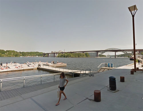2015 - Sjövikskajen with view on Årsta bridge in Stockholm (google Streetview)