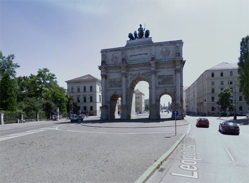 2016 - Siegestor at Leopoldstraße in  Munich, Germany (Google Streetview)
