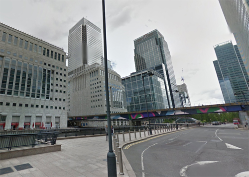 2016 - Bank Street at Middle Dock with view on Reuters Building at Canary Wharf in London, UK (Google Streetview)