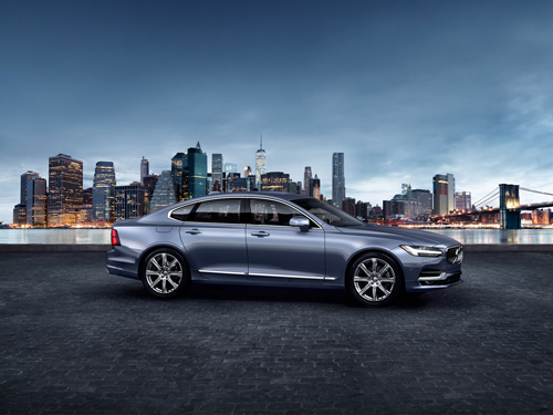 2016 - Volvo S90 in Brooklyn Bridge Park in Brooklyn Heights in New York, USA.