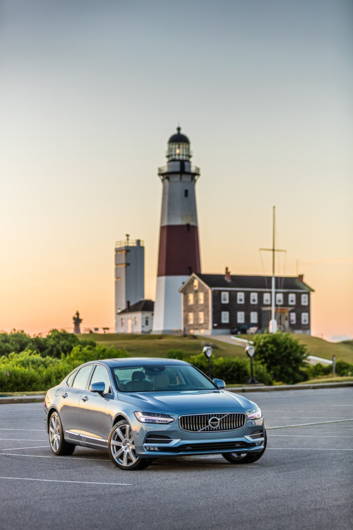 2016 - Volvo S90 at Montauk Point Lighthouse on Montauk Point near East Hampton on Long Island, New York, USA.