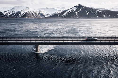 2016 - Volvo V90 Cross Country on Skagafjörður bridge at Kolgrafafjörður in West Iceland