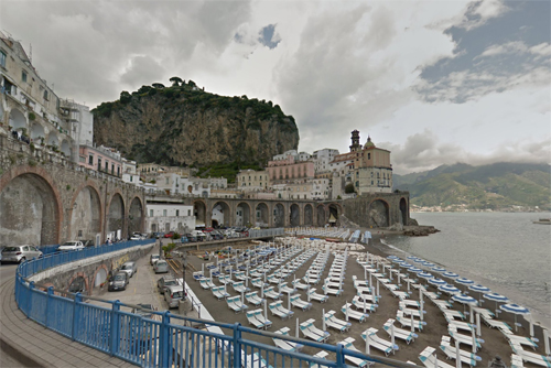 2016 - Atrani beach in Atrani on the Amalfi coast in Italy (Google Streetview)