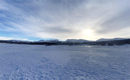 2017 - View on Lapporten from lake Torneträsk near Abisko (Google Streetview)